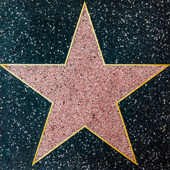 The empty star on the sidewalk of Hollywood Boulevard Walk of fames.