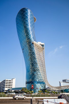 The Capital Gate Skyscraper (also known as the Leaning tower of Abu Dhabi) in Abu Dhabi City. January 05, 2017 in Abu Dhabi, United Arab Emirates