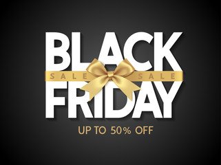 Wall Mural - Black friday sale design template Text with decorative golden bow. Vector illustration