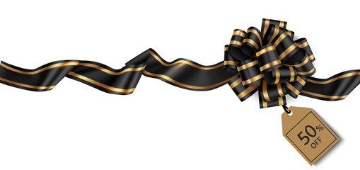 Wall Mural - Decorative black bow with price tag for black friday sale design. Vector illustration