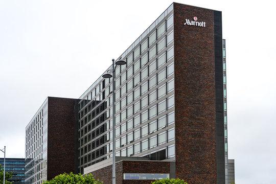 COPENHAGEN, DENMARK - JULY 24, 2017: Exterior view of 5-Star Luxury  Marriott Hotel in Copenhagen. Marriott Hotels & Resorts is Marriott International's brand of full-service hotels and resorts.