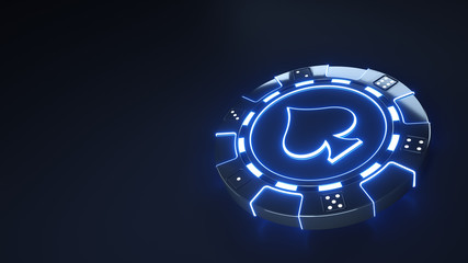 Casino Chip spades Concept with glowing neon blue lights and Dice dots isolated on the black background - 3D Illustration