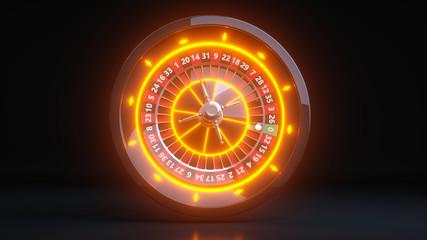 Roulette Wheel Concept Design. Online Casino Gambling Roulette 3D Realistic With Neon Orange Lights - 3D Illustration