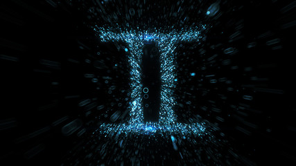Glowing blue Gemini zodiac symbol built from flying blue particles in space