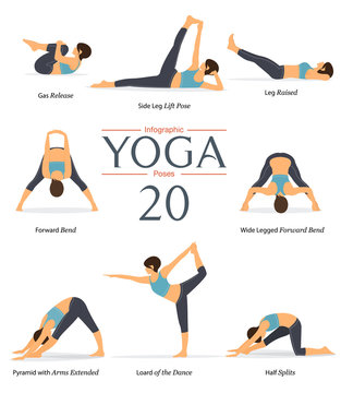 Set of 8 yoga poses in flat design. Woman figures exercise in blue sportswear and black yoga pants for yoga infographics. Vector Illustration.