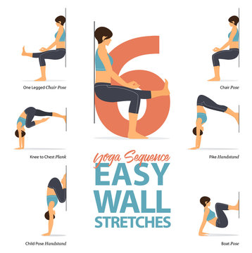 Infographic of 6 Yoga poses for stretch in flat design. Beauty woman is doing exercise for body stretching. Set of easy wall yoga sequence Infographic.  Vector Illustration.