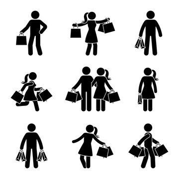 Stick figure man and woman holding shopping bags vector icon pictogram. Seasonal sale, black friday happy buyers with purchase on white background