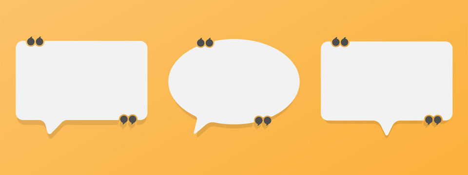 Set of speech bubble quote icons. Flat vector design