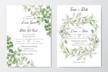 Elegant Greenery Wedding invitation template card design with watercolor leaves