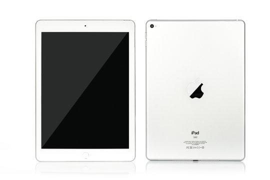 Krynica, Poland - December 29, 2017: Presentation of new model Apple iPad AIR 2 Wi-Fi 64GB Silver  from Apple Inc.