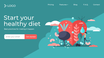 Healthy diet tiny persons vector illustration landing page template design.
