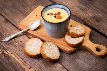 soup with mussels in a cup