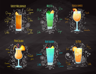 Recipes for different cocktails. Mojito, Pina Colada, Blue Lagoon and others. Vector