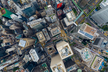 Fototapete - Top down view of Hong Kong city