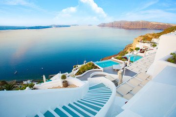 Fotobehang Santorini Beautiful Santorini by surise Greece