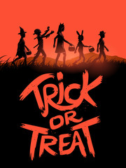A group of children trick or treating on halloween with a trick or treat sign. Vector illustration.