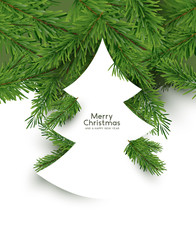 Christmas Tree concept. Flat arrangement of fir branches in the shape of a christmas tree. Vector illustration.