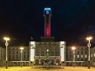 Ostrava, Czech Republic. New Town Hall in Christmas illumination. With the 86-meter high tower this is the tallest town hall in the country. Text on facade reads: Town Hall of Ostrava.