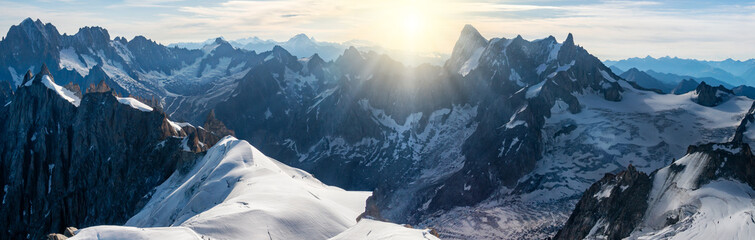 Fotobehang Alpen Panorama of Mont Blanc massif, mountain range in the Alps, France