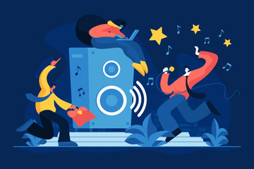 Corporate karaoke party flat vector illustration. Musical entertainment, active recreation, coworkers singing and dancing. Office workers, company employees, happy colleagues cartoon characters