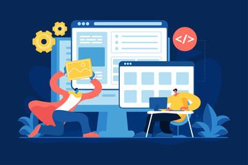 Front end development flat vector illustration. Website user interface layout, application design software, content management concept. Web designer and programmer, developers cartoon characters