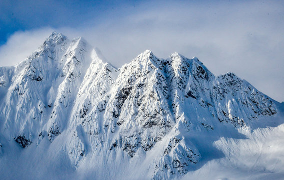 Mountains of Alaska in the winter