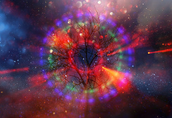 Abstract image of spiral shaped glowing lights against a tree in dark night. Concept of vision and spirituality