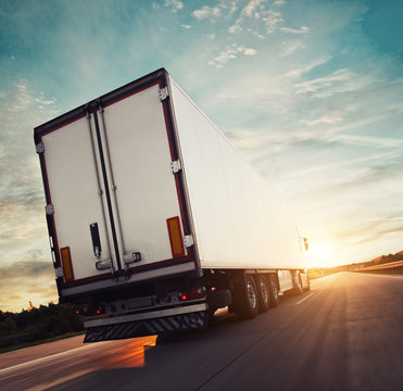 Backview of european truck vehicle on motorway