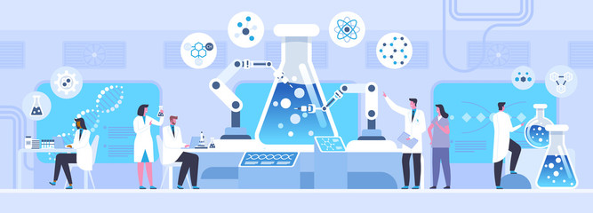 Lab chemical experiment flat vector illustration