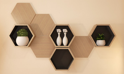 Hexagon wooden shelf japanese design on wall.3D rendering Wall mural