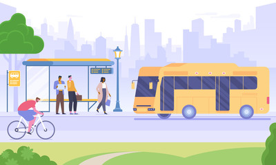 Bus stop flat vector illustration