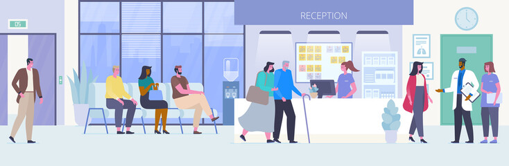 People in hospital hall flat vector illustration