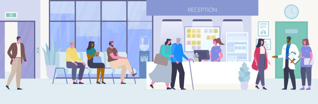 People in hospital hall flat vector illustration