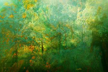 art concept of double exposure in nature. forest and fall colors Wall mural