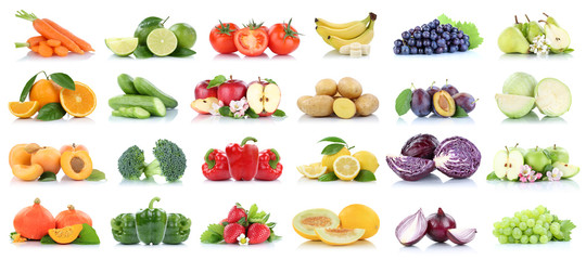 Poster de jardin Légumes frais Fruits vegetables collection isolated apple apples oranges cabbage tomatoes banana colors fresh fruit
