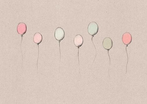 Fliegende Luftballons auf Kraftpapier