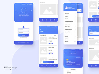 Obraz User interface design template in blue colors. Conceptual mobile phone screen mock-up for application interface presentation. UI, UX, GUI kit isolated on grey background. Vector eps 10. - fototapety do salonu