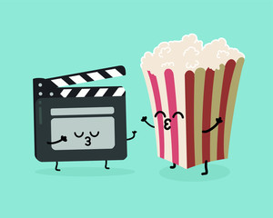 Movie clapper and popcorn in box. Movies, cinema. Vector cartoon. fast food. Friends forever. Fast food. Friends forever. Popcorn, movie ticket, cola, movies, cinema.