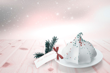 Christmas card with a picture of a birthday cake. 3D rendering.