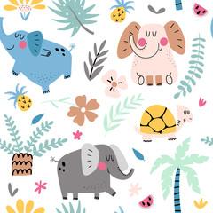 Fototapete - Seamless background with cute elephants