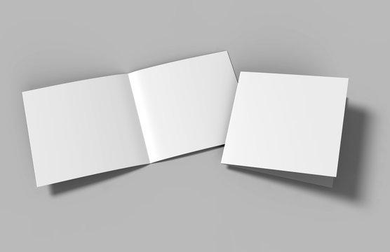 Half-fold brochure blank white template for mock up and presentation design. 3d illustration.