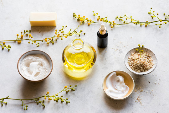 Natural skin care products with essential oils and salt scrub