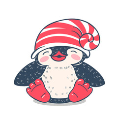 Winter illustration with funny cartoon penguin