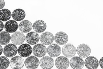 Arrays of Thai Baht money coins in half diagonal of picture