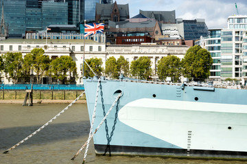 HMS Belfast cruiser on River Thames in London city in 19. September 2018. ( United Kingdom )