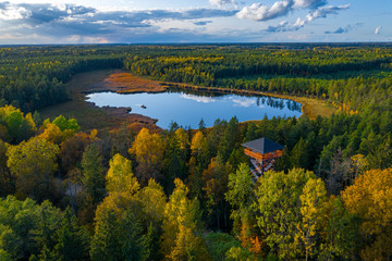 Latvian autumn nature. View from the top. Kangari lake in forest.