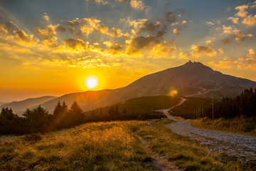 Snezka, highest mountain of Giant Mountains, Czech Republic