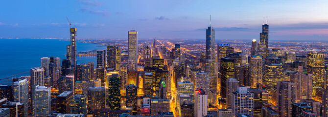 Photo sur Toile Chicago Aerial view of Chicago Skylines South Panorama