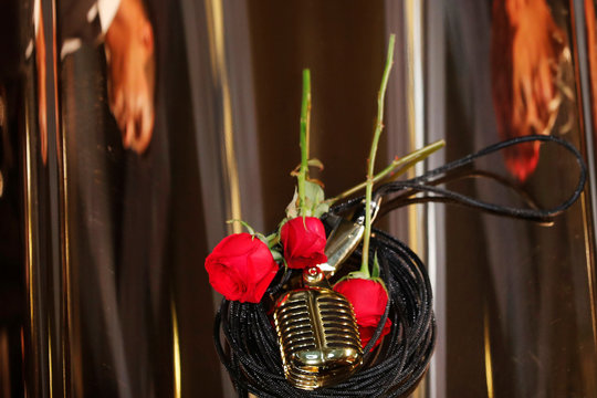 A microphone is seen on top of the coffin of late Mexican singing legend Jose Jose during his tribute at Bellas Artes Palace in Mexico City