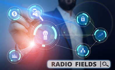 Word writing text Radio Fields. Business photo showcasing electromagnetic field intensity consisting of an electric Male human wear formal work suit presenting presentation using smart device